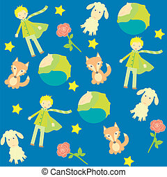 background with The little prince characters - seamless...