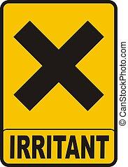 Irritant Sign - Harmful irritant symbol on rectangular...