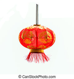 Silk chinese lanterns - Chinese lantern light, isolated over...