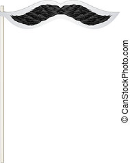 Fake mustache in dark design on white background