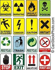 útil, advertencia, símbolos
