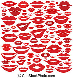 Lip a background - Background made of lips. A vector...