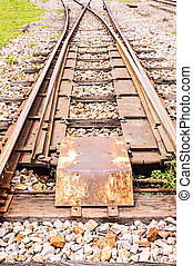 Junction railway tracks on sleepers with  switch