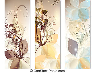 Business cards template set with abstract colorful flowers -...