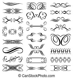 Elements set - Vector file of black and white design...