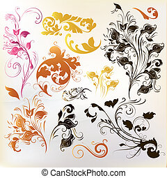 Collection of vintage swirl ornamen - Set of vector swirl...