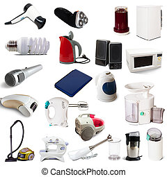 Set of  household appliances on white background with shade