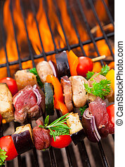 Grilled skewer - Delicious fresh skewers on grill