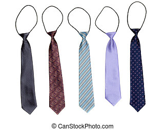 Five tie an elastic band isolated on white background