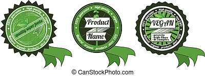 Three vector organicnon gmo badges - Three retro vector...
