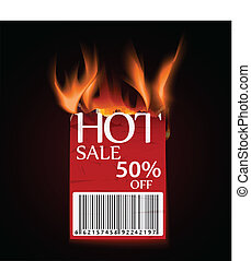 hot sale design with burning label - Vector Illustration of...