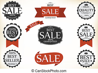 Premium Quality and Guarantee Label - Vector Illustration of...