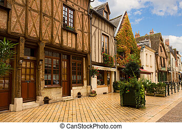 timbered houses in Amboise, France - timbered houses in old...