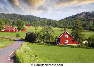 antigas, vermelho, fazenda, paisagem