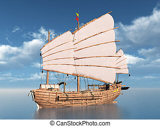 Chinese Junk - Computer generated 3D illustration with a...