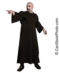 Angry Warlock - Robed warlock pointing and casting a spell,...