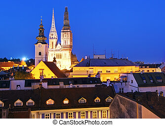 Zagreb city at night - Croatia - Zagrab city at night
