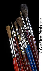 used paintbrushes - some used paintbrushes in black back