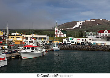 Icelandic Seaport: Boats for fishing and for whale watching...