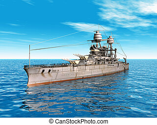 American Battleship - Computer generated 3D illustration...