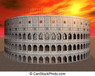 Colosseum in Rome - Computer generated 3D illustration with...