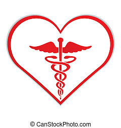 Caduceus in heart medical symbol vector