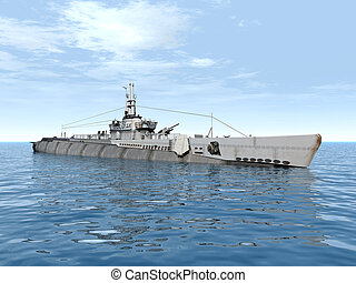 Submarine USS Trigger - Computer generated 3D illustration...