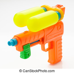 multicolor, niño, agua, arma de fuego, aislado,...