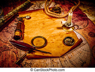 Vintage still life Vintage items on ancient map - Vintage...