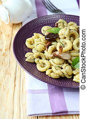 Italian pasta with mushrooms, food close up