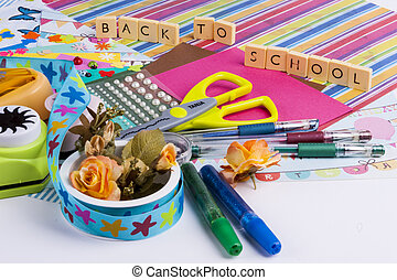 Scrapbooking set on white background.
