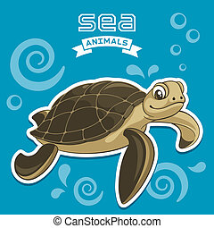 Turtle - Vector illustration of a sea turtle