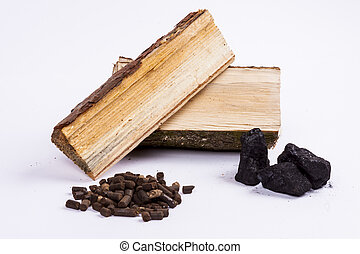 Timber, coal and biomass pellet on white background.