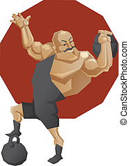 Circus strong mag lift a weight - Illustration of cartoon...