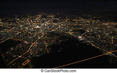 Moscow city - Aerial view of Moscow at night