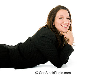 taking a break - smiling businesswoman on the floor looking...