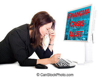 financial crisis alert - worried business woman with screen...