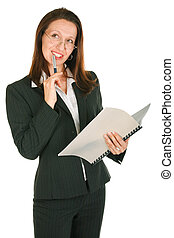 any business idea - thoughful Businesswoman holding pen and...