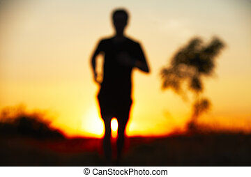 Running at the sunset