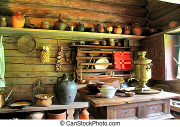 Russian izba - Interior of russian izba