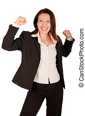 yeah! - attractive businesswoman is very excited and...