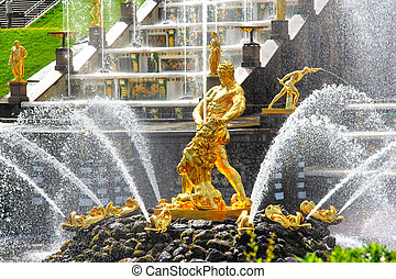 Samson Fountain in Peterhof Palace, Russia - Samson Fountain...