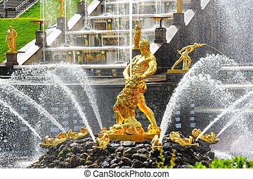 Samson Fountain in Peterhof Palace, Russia - Samson Fountain...