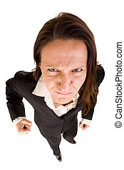agressive businesswoman - dynamic view of angry and...
