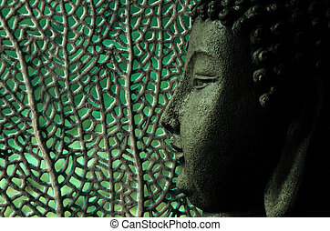 tropical and serene buddha with oceanic background in green...