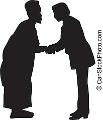 Two men shaking hands - Two men of different community...
