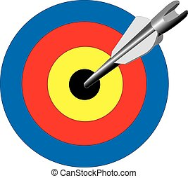 Bulls Eye - Illustration of an arrow hitting the bulls eye