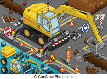 sometric Yellow Excavator with Four Arms in Front View -...