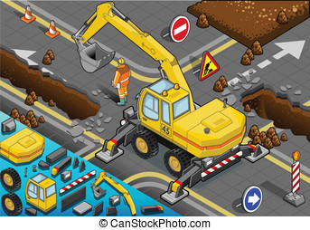 Isometric Yellow Excavator with Four Arms in Rear View -...
