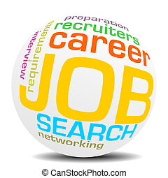 job search wordcloud sphere - job search keywords, word or...
